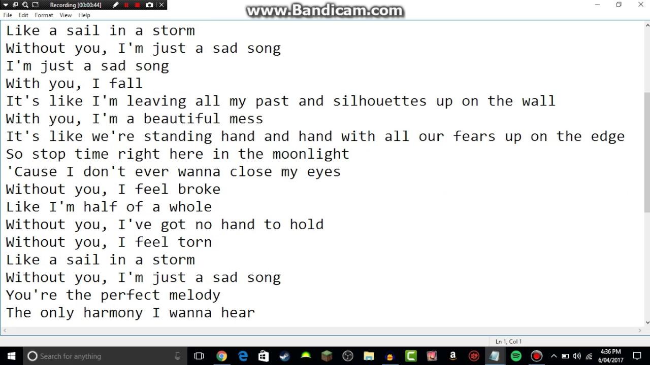 We The Kings - Sad Song (Lyric Video) ft  Elena Coats