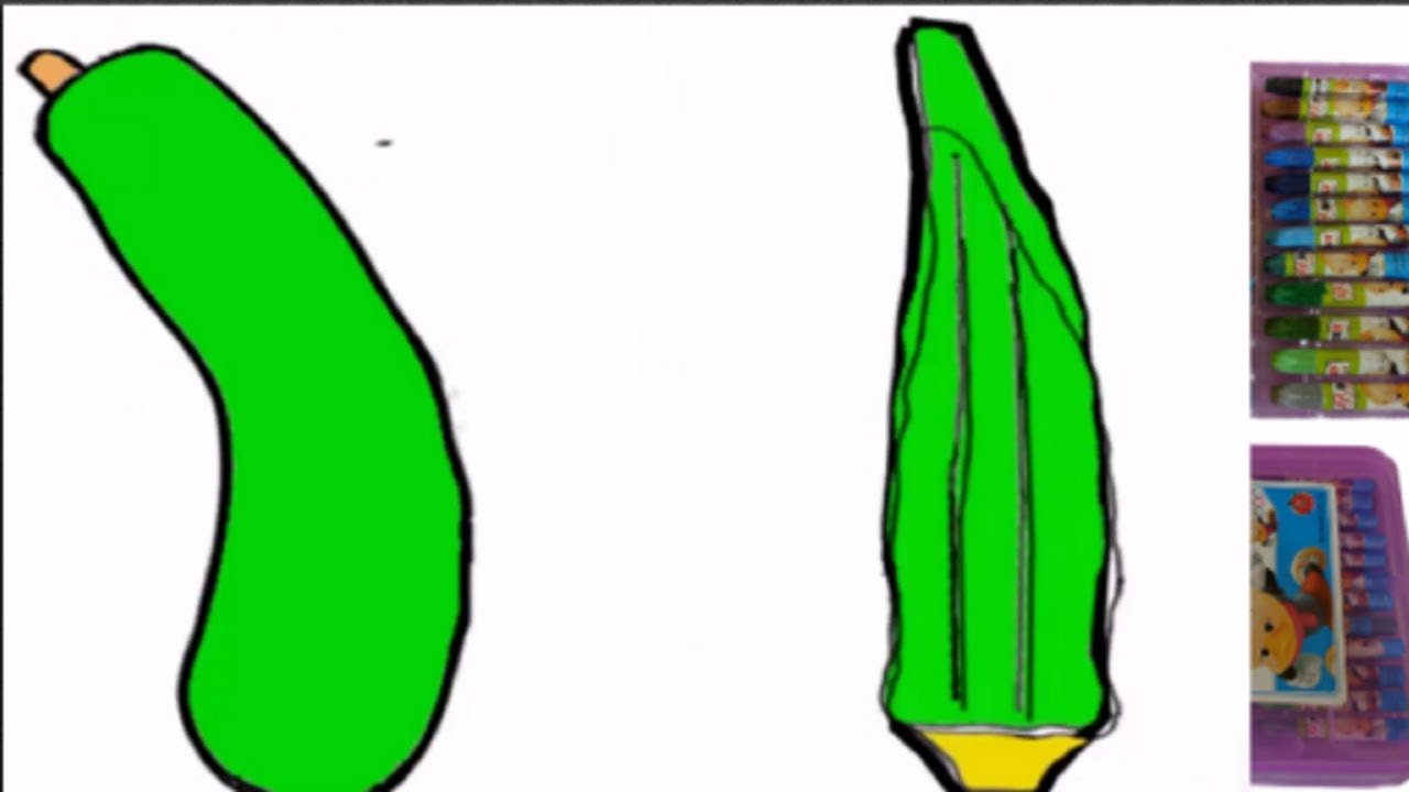How to Draw and Paint Green Vegetables||Pumpkin|| Okra||Interesting ...
