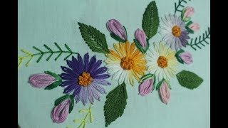 Ponto de margarida preguiçosa para fazer bela flor design – Bordados à mão