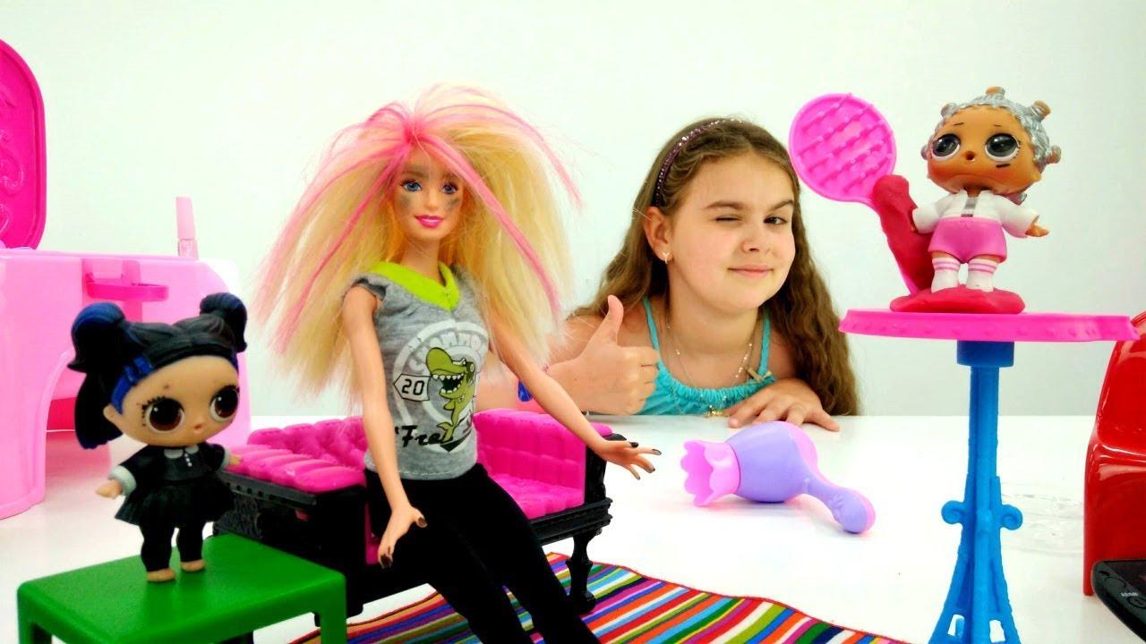 Лол и Барби в салоне красоты. Куклы Лол - Мультики для ...
