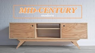 DIY Mid-Century Modern Media Console | #Woodworking