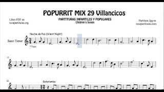 29 Popurrí Mix Villancicos Partituras de Saxo Tenor Noche de Paz Gatatumba Los Peces en el Río