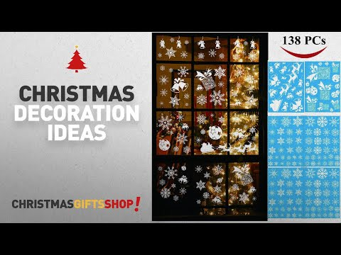 Top Christmas Decorations Window Stickers: Joiedomi 138 PCs Snowflake Window Clings Decal Stickers