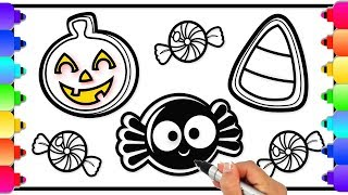 How to Draw Halloween Cookies and Candy for Kids | Coloring Pages | How to Draw Halloween Stuff 🎃👻