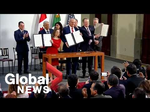 Canada, U.S., Mexico sign amended USMCA trade pact | FULL