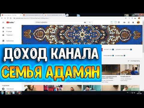 Доход канала Семья Адамян на Ютубе