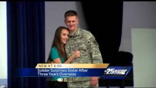 Local soldier surprises sister