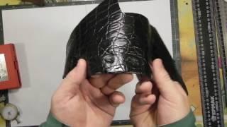 Обзор кожи крокодила (черная). Overview of the crocodile skin (black)