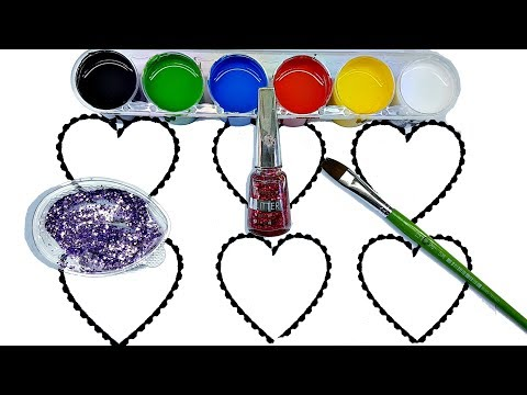 Heart Coloring Page |  Learn Colors for Children | Gouache paint