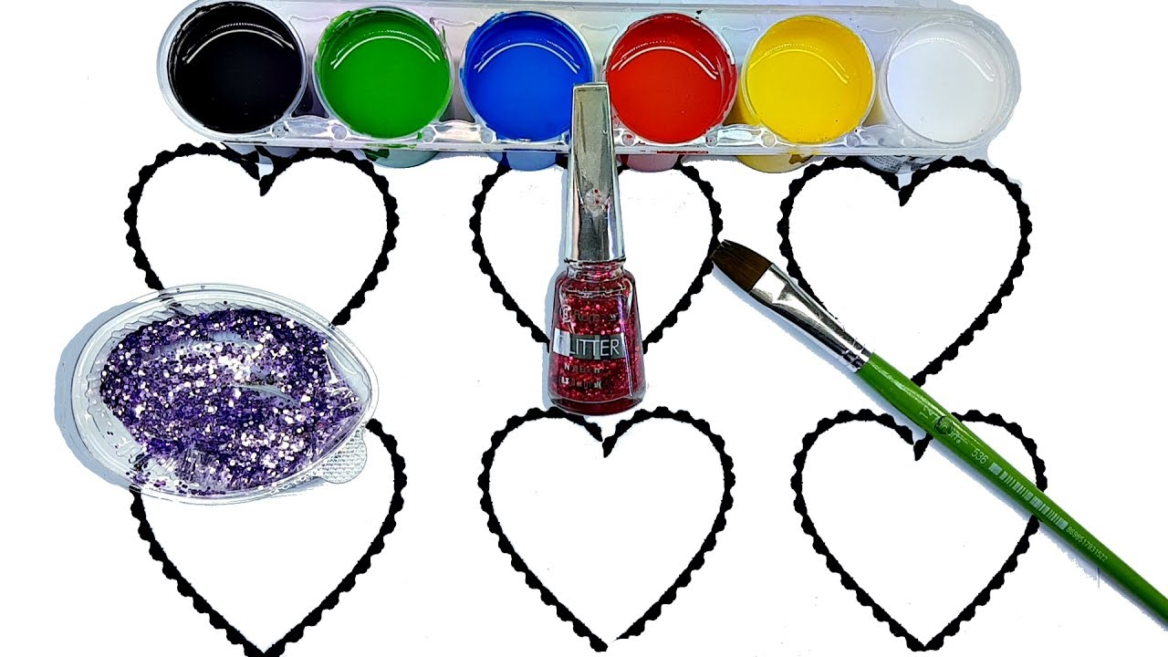 heart coloring page learn colors for children gouache paint