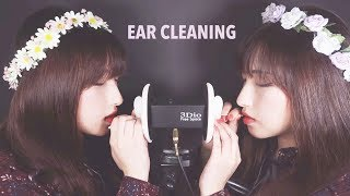 ASMR. Twin Ear Cleaning w/Cotton Swabs (feat. Mouth Sounds)