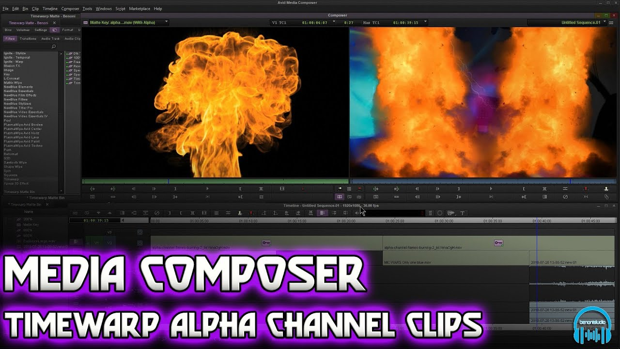 Media Composer | Timewarp Alpha Channel Clips and Matte Key