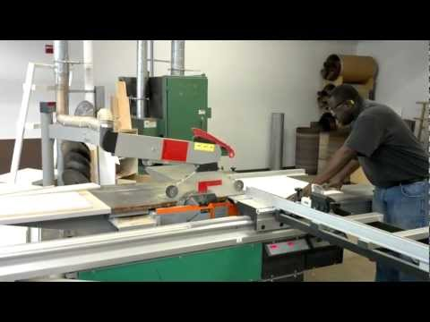 Timothy operating our sliding table saw