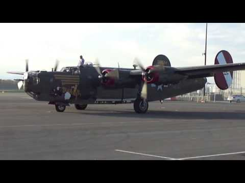 """B-24 Liberator """"Witchcraft"""" start-up and take off"""