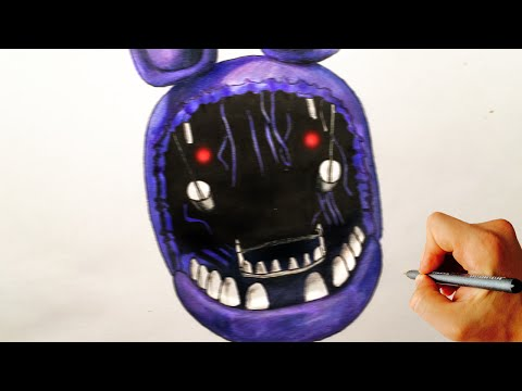 How to draw withered Bonnie jumpscare from Five Nights at Freddy's FNAF drawing lesson