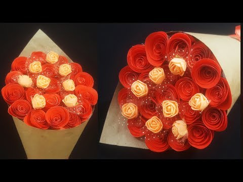 How To Make Paper Rose Flower Bouquet | Diy- Paper Flower Bouquet Tutorial Easy Step By Step ||