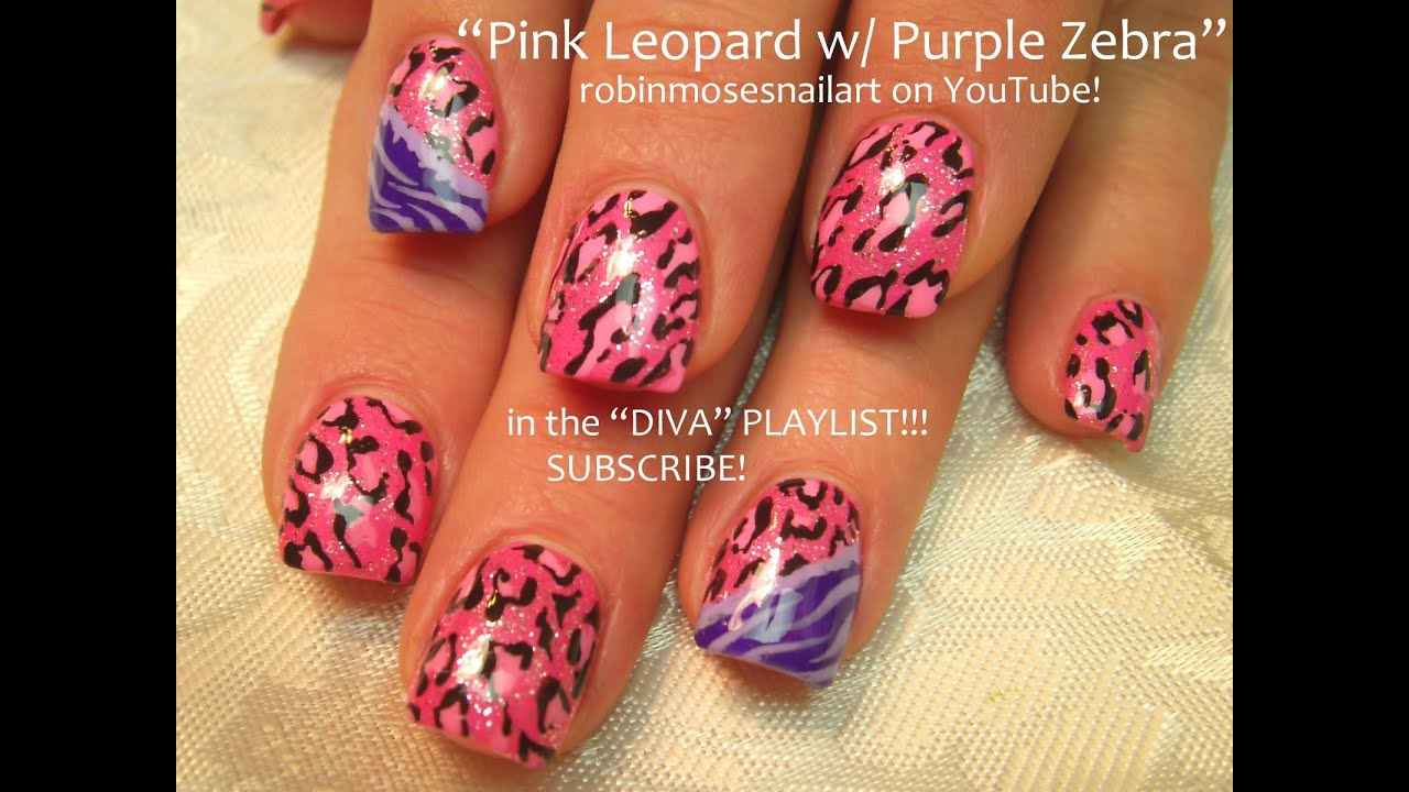 2 Nail Art Designs Diy Easy Pink Leopard Zebra Nails Tutorial You