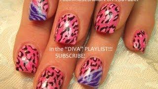 2 Nail Art Designs | Diy Easy Pink Leopard & Zebra Nails Tutorial