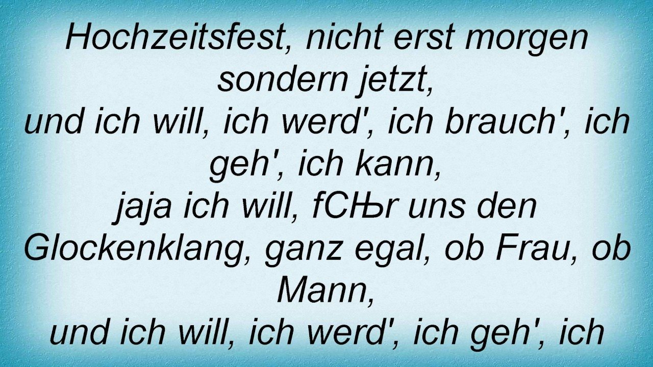 Rosenstolz - Ja Ich Will Lyrics - YouTube