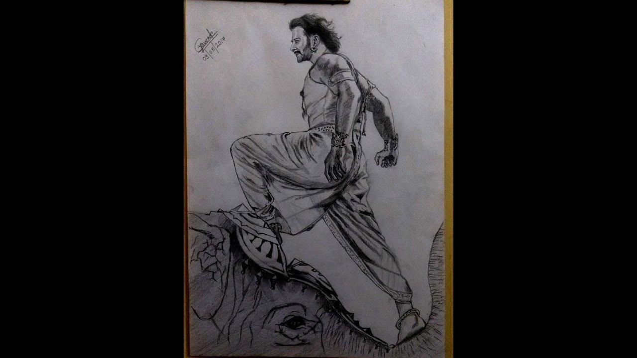 Pencil sketchingdrawing of bahubali 2 movie postertime lapse