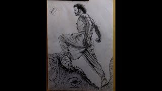 Pencil sketching(drawing) of Bahubali-2 Movie Poster(Time-lapse)