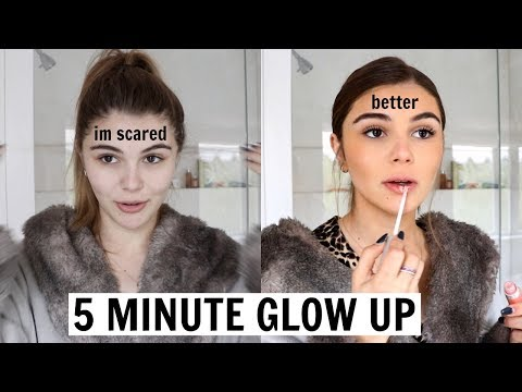 how to look sort of okay in 5 mins...(how to quickly glow up) hair, makeup, outfit thumbnail