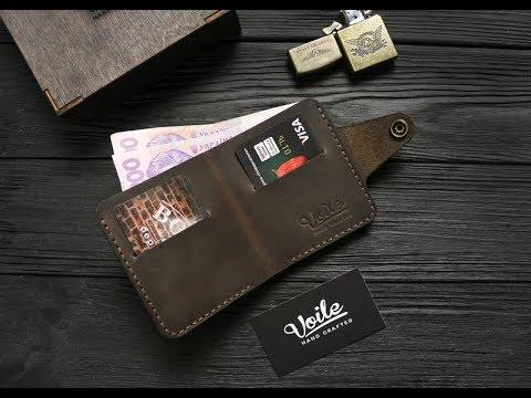 Мужской кожаный кошелек ручной работы темно-синий VOILE vl-cw1-blu .