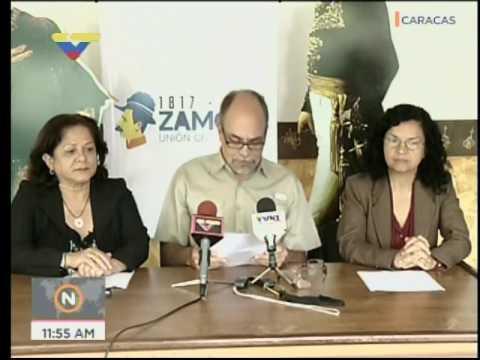 Pedro Calzadilla en rueda de prensa sobre restos de Argimiro Gabaldón al Panteon Nacional