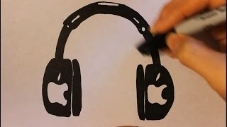How To Draw A Cool Cartoon Headphone|Step By Step Easy Drawing Tutorial