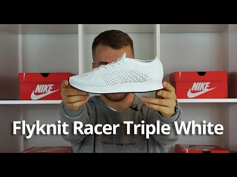 Nike Flyknit Racer Triple White Unboxing EARLY   Review - YouTube dd9e04f5f