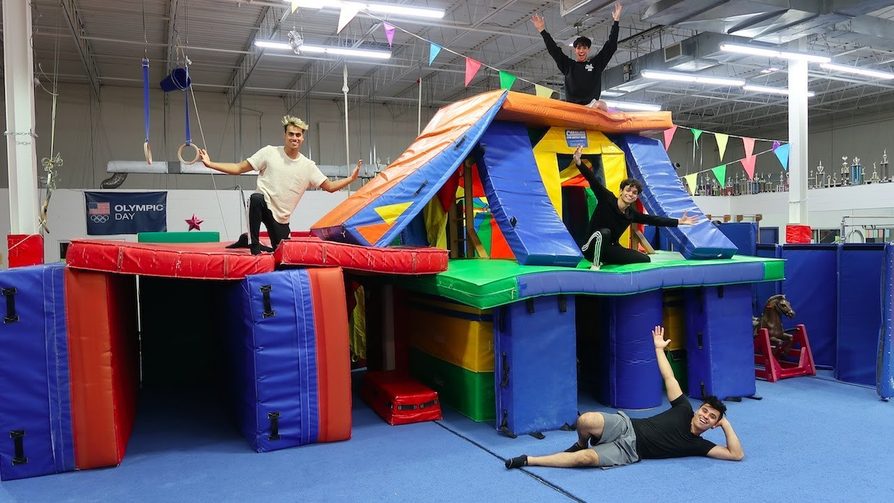 WE MADE A GIANT GYMNASTICS FORT MANSION INSANE  YouTube