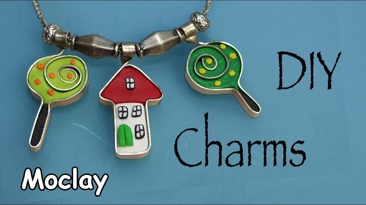 DIY Charms with flat wire and Polymer clay - YouTube