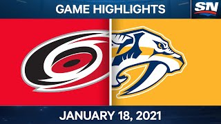 NHL Game Highlights | Hurricanes vs. Predators - Jan. 18, 2021