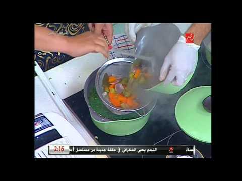 شوربة الخضروات والشوفان والسلطة الروسي وعصير الخروب من الشيف حسن