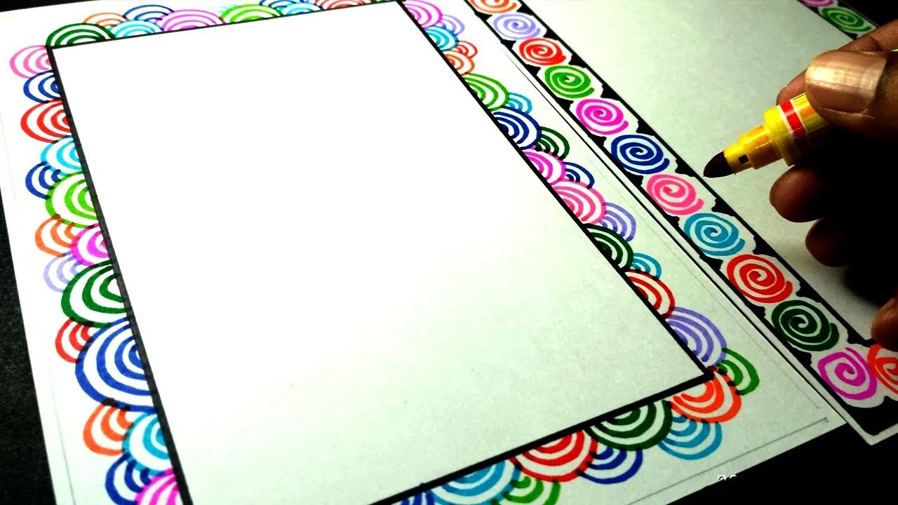 2 Very easy and attractive border design for project file ...