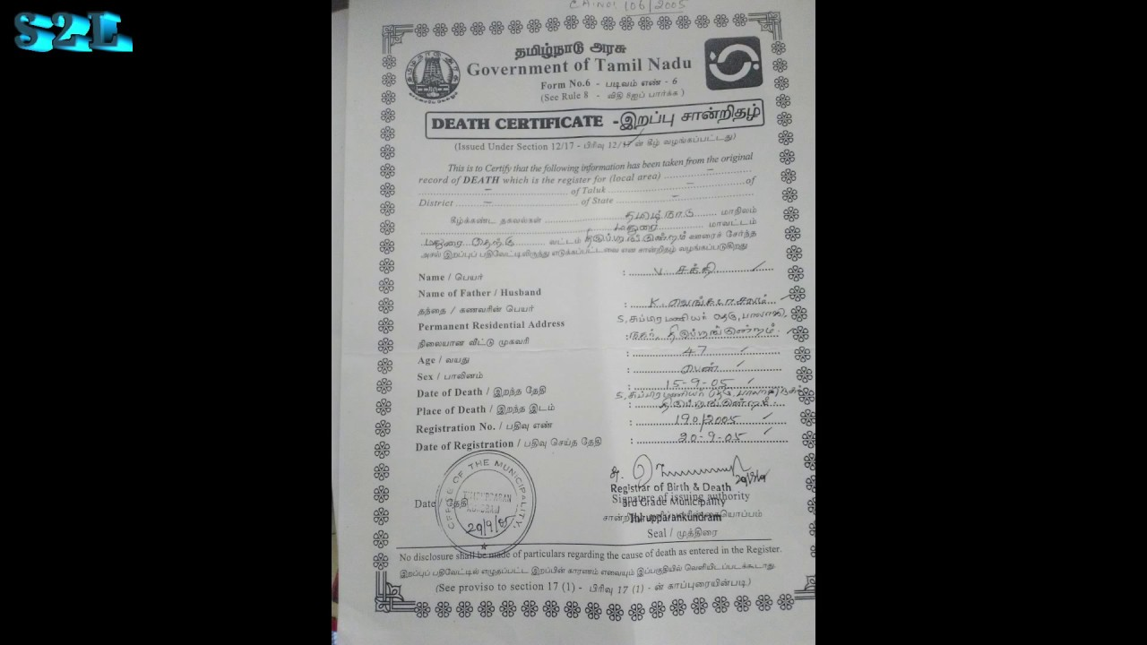 Sample of death certificate youtube sample of death certificate yelopaper Choice Image