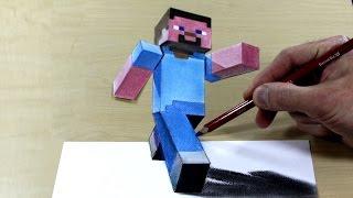 3d painting Minecraft   visual illusion