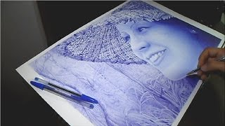 Ballpoint pen tips - speed drawing portrait - dibujo a bolígrafo