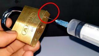 How to open a lock with a syringe - Cách mở  ổ khóa bằng ống tiêm