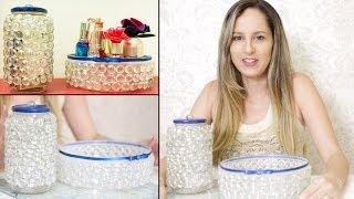 Repeat youtube video Como Fazer Artesanato com Potes Reciclados de Plástico e Vidro - Bandeja de Pedra