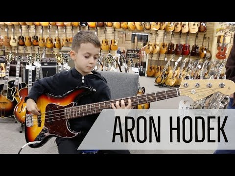 7-year-old Aron Hodek playing our Fender American Vintage '64 Jazz Bass