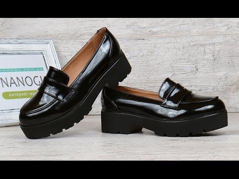 Туфли лоферы женские черные лакированные на каблуке Betsy