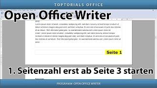 1. Seitenzahl z.B. erst ab Seite 3 beginnen (Open Office Writer)