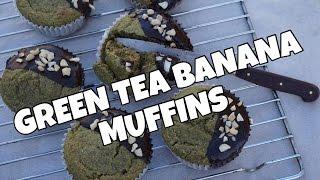 Vegan Matcha Green Tea Banana Muffins | Tess Begg