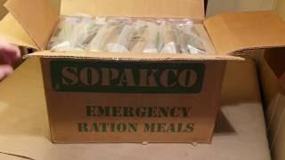 Mre unboxing Sopakco emergency ration meals (inspection date 8/16)