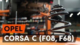 Kā nomainīt aizmugurējie atsperes OPEL CORSA C (F08, F68) [AUTODOC VIDEOPAMĀCĪBA]