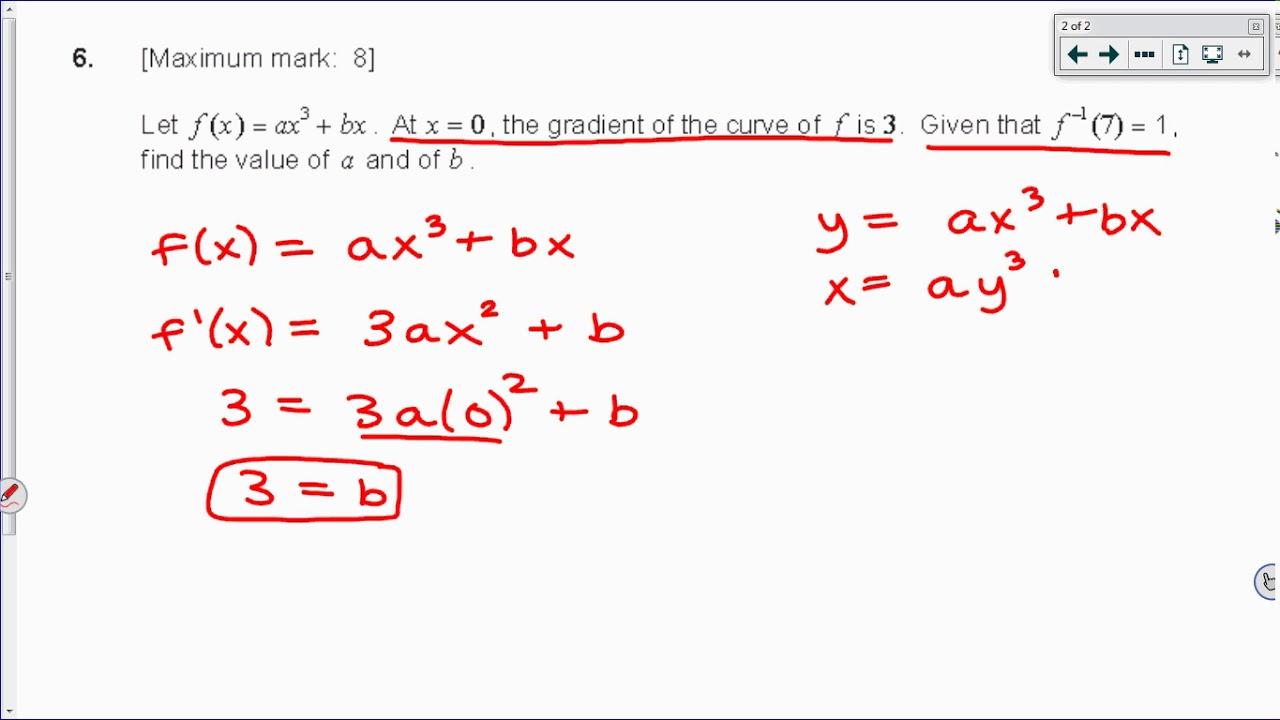 [IB Math SL] May 2015 TZ2 Paper 1 Question 6