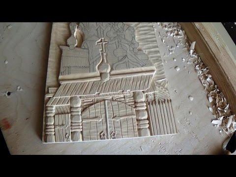 Церквушка на разделочной доске.  Выборка фона и начало. Резьба по дереву