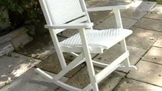 Willow Bay Folding Resin Wicker Rocking Chair White - Product Review Video