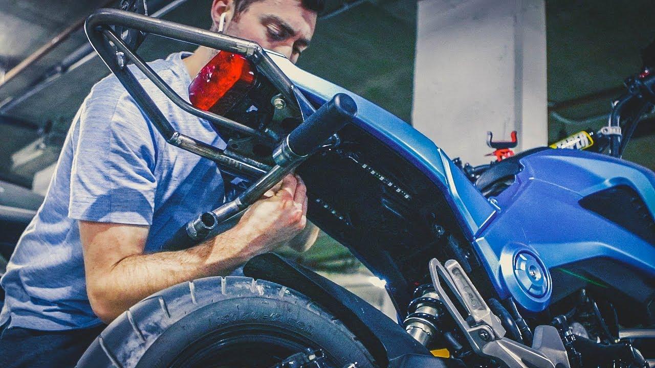 Honda Grom Stunt Build: Wheelie Bar & Sub Cage Install ...